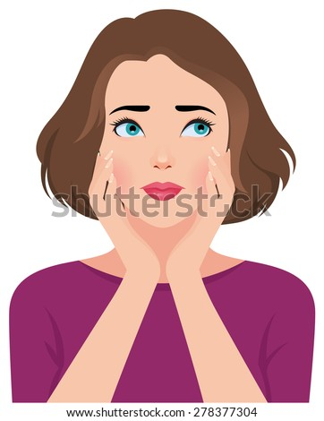 Stock vector illustration portrait of unhappy upset beautiful young woman or girl/Portrait of upset unhappy young woman or girl/Stock vector illustration - stock vector