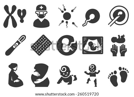 Stock Vector Illustration: Pregnancy icons  - stock vector