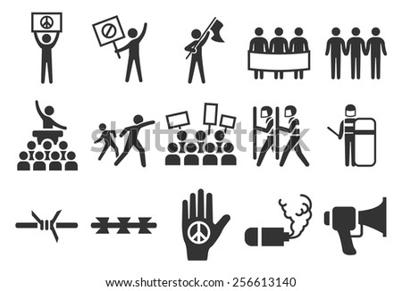Stock Vector Illustration: Protest icons - stock vector