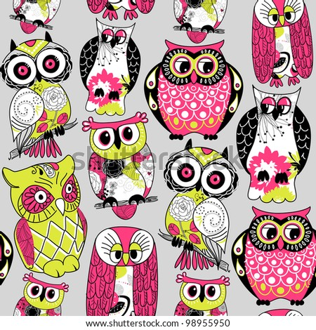 Stock Vector Illustration: Seamless and colourful owl pattern. - stock vector