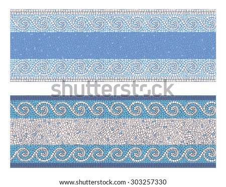 Stock vector illustration seamless mosaic border in antique style/Seamless mosaic border in antique style/Stock vector illustration - stock vector