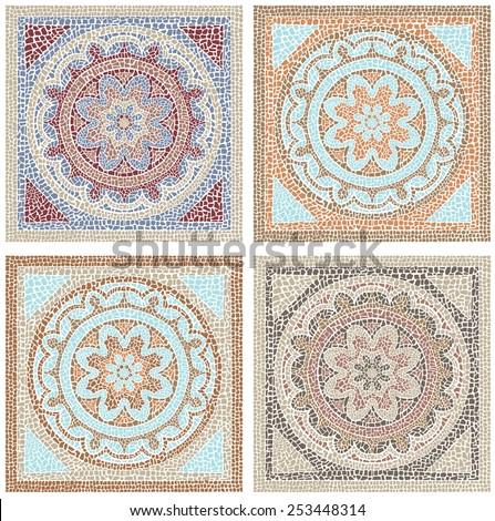 Stock vector illustration seamless pattern antique mosaic - stock vector