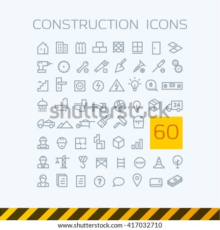 stock-vector-illustration-set-contour-web-icons-construction-repair-tools - stock vector