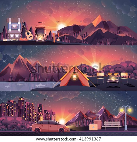Stock vector illustration set of night landscape, mountains, sunset, travel, hiking, nature, tent, campfire, pot, big tourist backpack, camping, car, city nightlife, bench, luggage, tour in flat style