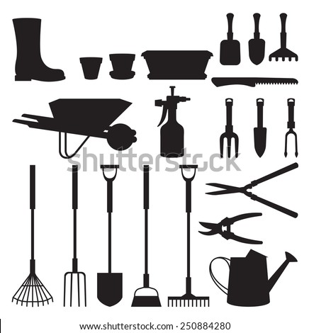 Stock vector illustration set of silhouettes of objects of garden tools and accessories/Set of silhouettes of objects garden tools/Stock vector illustration - stock vector