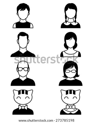 Stock vector illustration set of stylized avatars or userpics people and cats/Set of stylized avatars or userpics people and cats/Stock vector illustration - stock vector