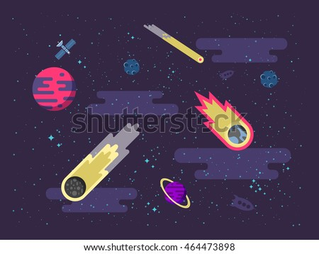 Stock vector illustration space background with comets, meteorites, stars, planets, nebulae in a flat style