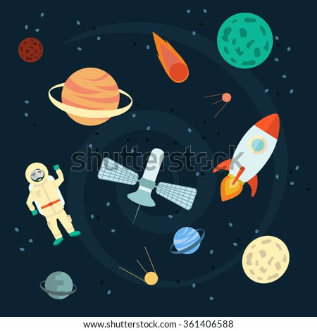 Stock Vector Illustration: Space set of planets, orbits, rockets, satellite, stars, ufo, astronaut, apollo, comet, meteorite. Cosmos. Vector illustration. Cartoon icons. - stock vector