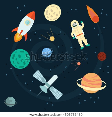 Stock Vector Illustration Space set of planets, orbits, rockets, satellite, stars, ufo, astronaut apollo comet meteorite Cosmos Vector illustration
