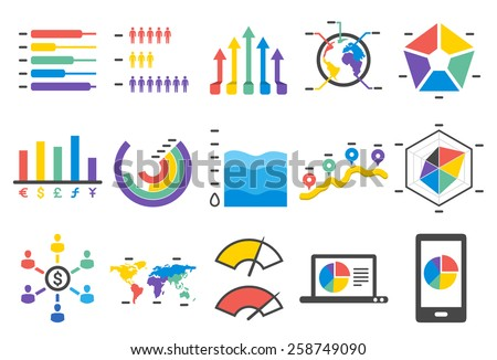 Stock Vector Illustration: Stat icons set 2 - stock vector