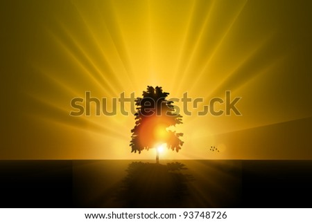 Stock Vector Illustration: the lonely tree - vector illustration - stock vector