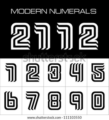 Stock vector modern numbers - stock vector