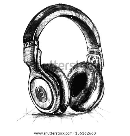 Stock vector music vintage background hand drawn illustration retro design with headphones - stock vector