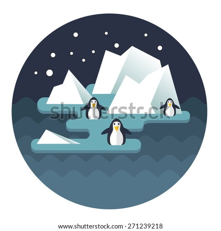 Stock Vector North Pole and penguins on the ice - stock vector
