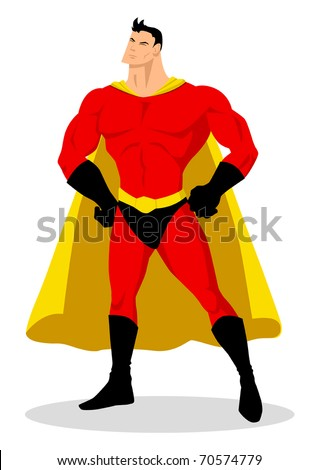 Stock vector of a superhero posing - stock vector