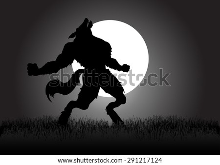 Stock vector of a werewolf howling in the night during full moon - stock vector