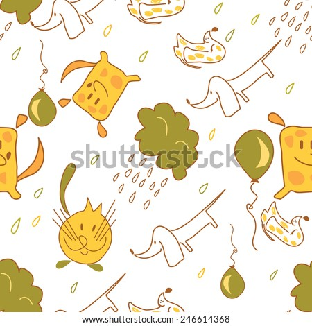 stock vector seamless pattern of dogs and cats with rain clouds and balloons