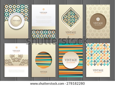 stock vector set of brochures in vintage style. Vector design templates vintage frames and backgrounds. Use for printed materials, signs, elements, web sites, cards - stock vector