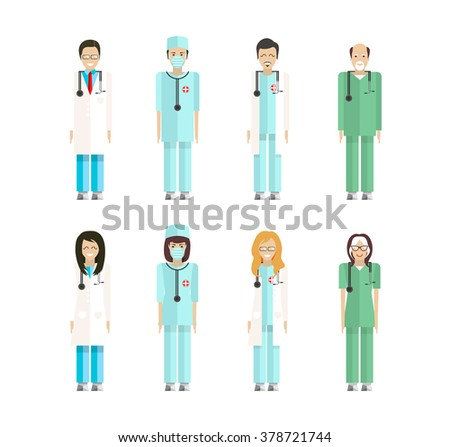 Stock vector set of isolated characters, doctor, nurses, male nurse, ambulance staff, therapists of polyclinics, medical staff of clinic flat style for icon, website, printed material white background - stock vector