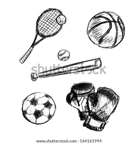 Stock vector sketch illustration of sport doodles  - stock vector