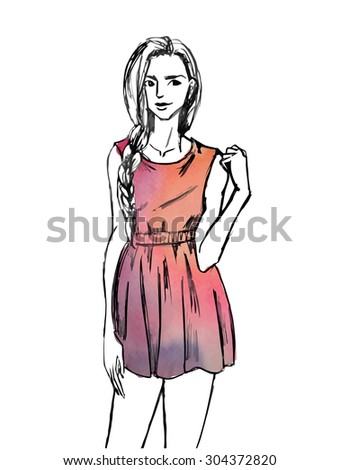 Stock vector watercolor fashion woman with long hair illustration  beautiful face girl