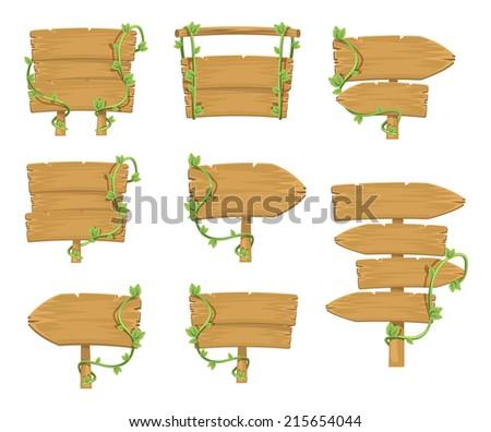 Stock vector wooden sign boards simple cartoon illustration set - stock vector