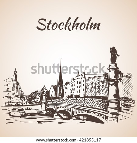 Stockholm city street view with bridge. Sketch