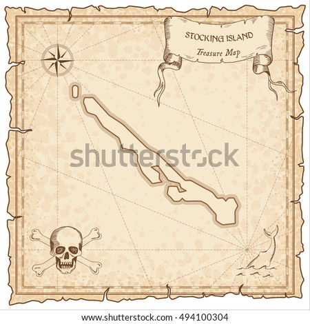 Stocking Island old pirate map. Sepia engraved parchment template of treasure island. Stylized manuscript on vintage paper.