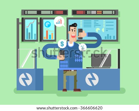 Stocks broker character - stock vector