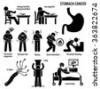 Stomach Cancer Symptoms Causes Risk Factors Diagnosis Stick Figure Pictogram Icons - stock vector