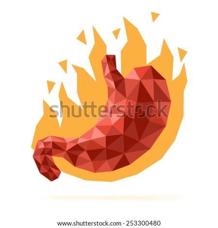 Stomach heartburn disease illustration with faceted low-poly geometry effect - stock vector