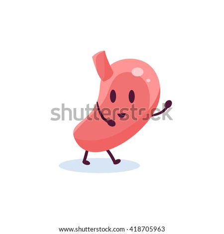 Stomach Primitive Style Cartoon Character In Flat Childish Vector Design Illustration Isolated On White Background