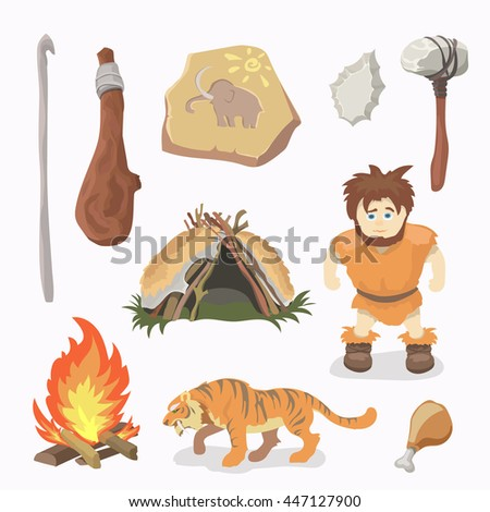 Stone Age icons Primitive man. Cavemen. Neanderthals. Homo sapiens. Evolution. Hunting. - stock vector
