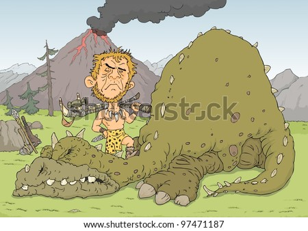 Stone age man hunted huge dinosaurs - stock vector