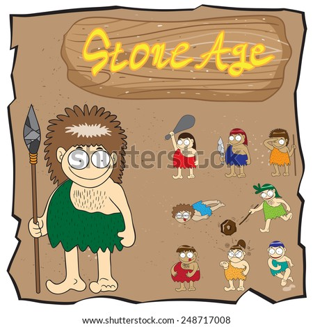 Stone age people cartoon vector - stock vector