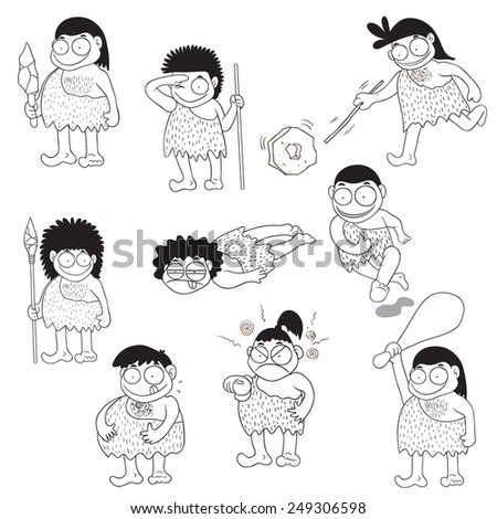 Stone age people cartoon vector - stock vector