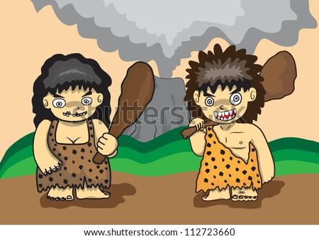 stone age vector cartoon - stock vector