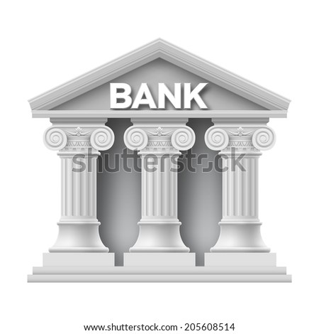 Stone building of bank with three columns - stock vector
