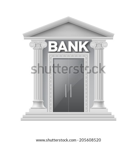 Stone building of bank with two thin columns