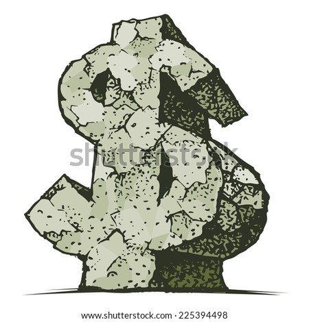 Stone dollar sign. Eps8. CMYK. Organized by layers. Global colors. Gradients free. - stock vector