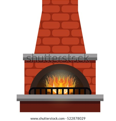 stone fireplace vector isolated clipart stock vector 522878029 rh shutterstock com clipart fireplace logs clip art fireplace flames