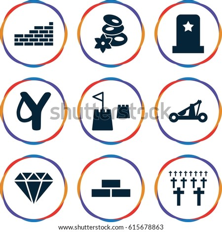 Stone icons set. set of 9 stone filled icons such as brick wall, spa stones, castle tower, catapult, headstone, cemetery, sligshot