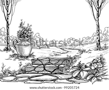 Stone stairs in the park pencil drawing - stock vector