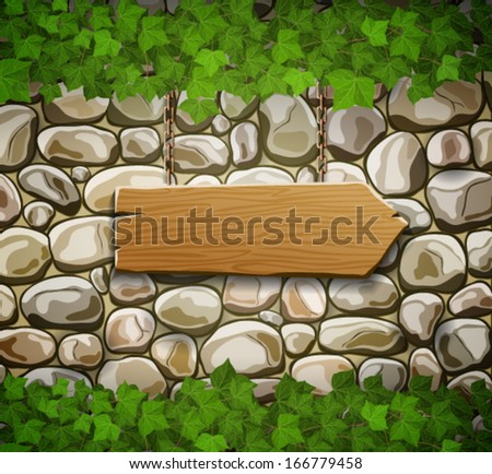 Stone wall with wooden arrow and leaves - stock vector