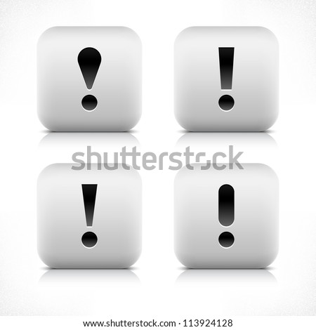 Stone web 2.0 button exclamation mark symbol sign. White rounded square shape with black shadow and gray reflection on white background. Vector illustration in wire mesh technique and saved in 8 eps - stock vector