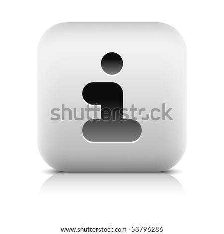 Stone web 2.0 button info sign. White rounded square shape with shadow and reflection. White background - stock vector