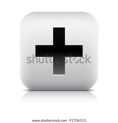 Stone web 2.0 button share symbol add sign. White rounded square shape with black shadow and gray reflection on white background. This vector illustration created and saved in 8 eps - stock vector