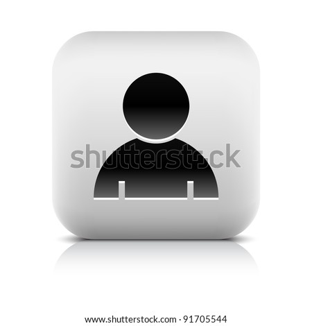 Stone web 2.0 button user profile symbol sign. White rounded square shape with black shadow and gray reflection on white background. This vector illustration created and saved in 8 eps - stock vector