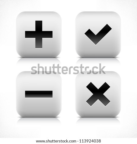 Stone web 2.0 button validation symbol sign. White rounded square shape with black shadow and gray reflection on white background. Vector illustration in wire mesh technique and saved in 8 eps - stock vector