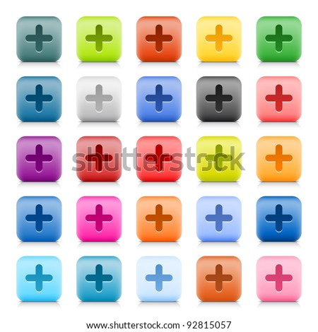 Stone web button with color plus sign. 25 variation rounded square icon with shadow and reflection on white background. This vector created in technique of wire mesh and saved file 8 eps - stock vector